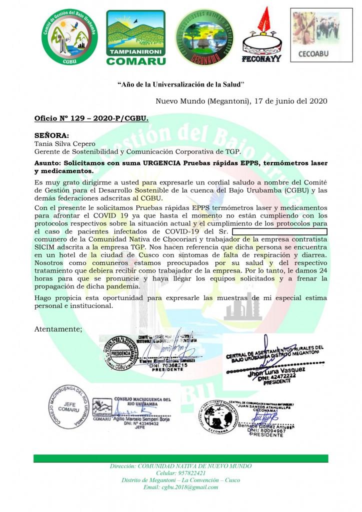 Documento remitido desde COMARU a TGP