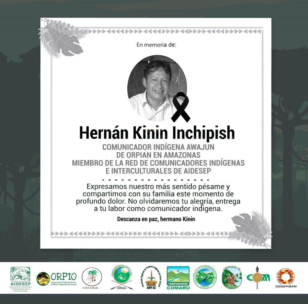 Desde las organizaciones indígenas se emitieron diversas comunicaciones de condolencia tras su muerte.