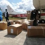 Avioneta con primeras ayudas para Sepahua llegó al promediar el medio día. Foto: Microred Sepahua
