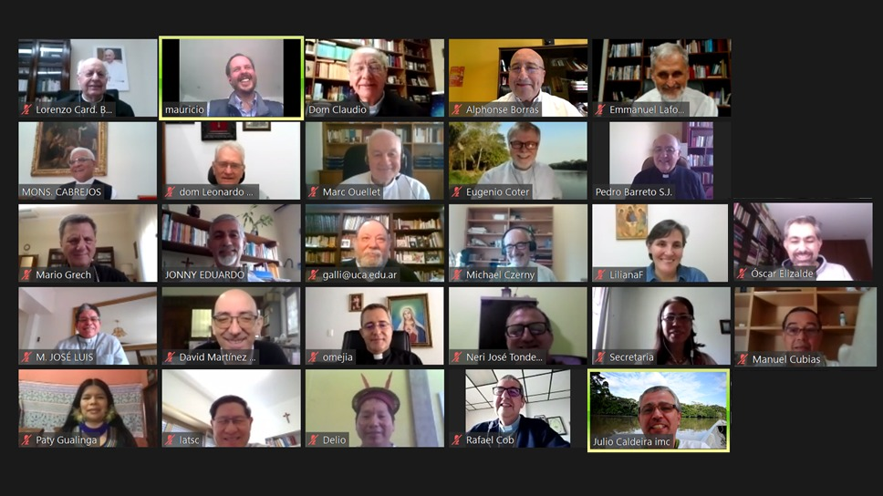 Imagen de la reunión virtual mantenida esta mañana. Foto: Prensa CELAM