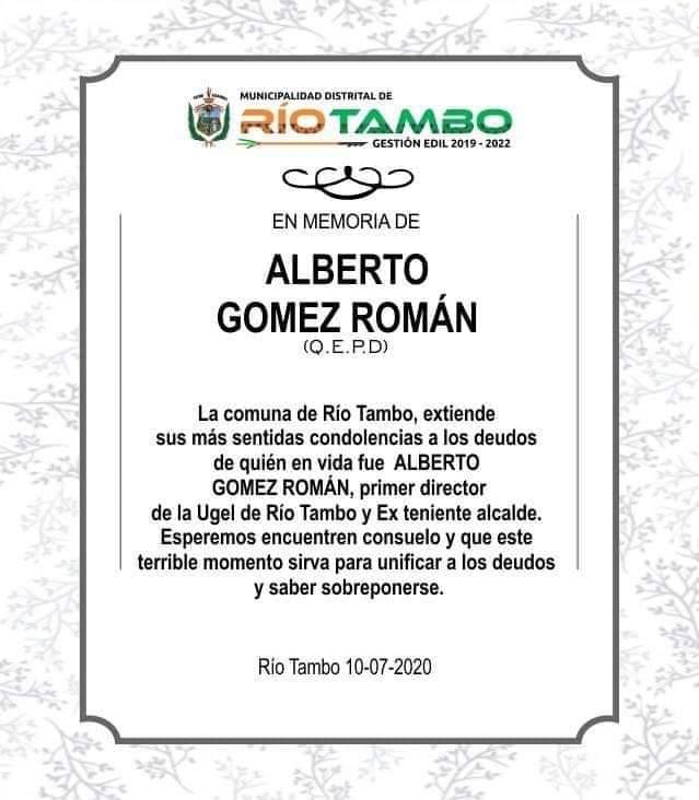 Nota de condolencia desde la Municipalidad de Río Tambo.
