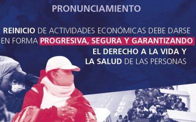 Reinicio de actividades económicas debe darse en forma progresiva, segura y garantizando el derecho a la vida y la salud