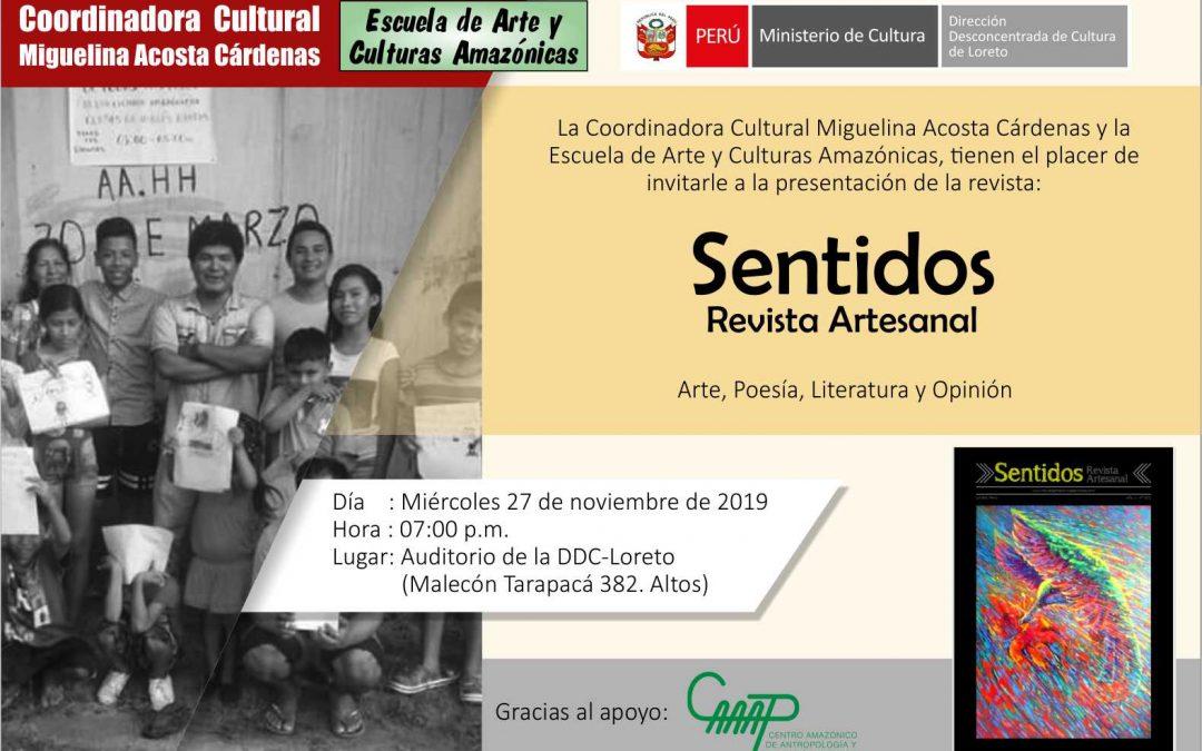 Iquitos: Presentarán revista amazónica SENTIDOS para incentivar la difusión de las nuevas propuestas del arte local