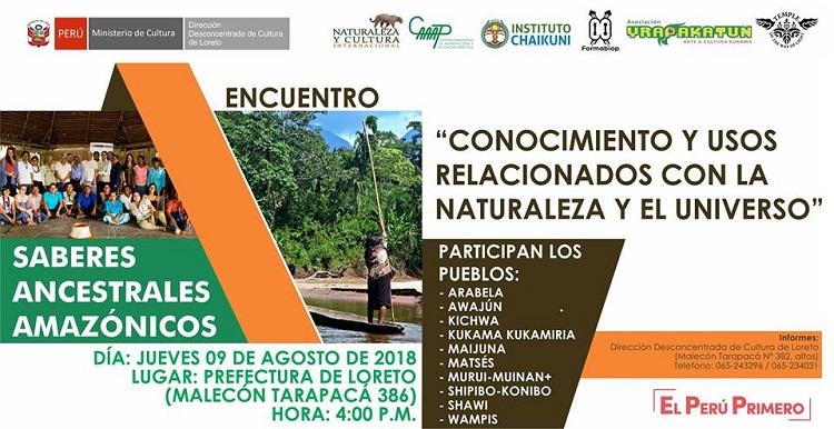 Este jueves se realiza en Iquitos primer encuentro de saberes ancestrales amazónicos