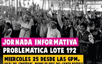 Madres indígenas y dirigentes presentan hoy problemática del Lote 192