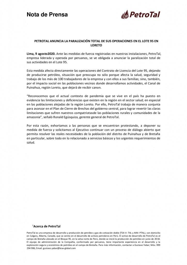 Pronunciamiento de PetroTal