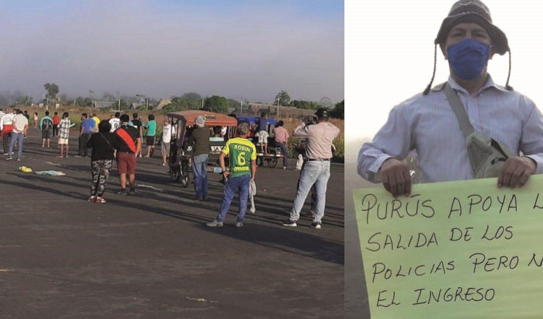 Vecinos de Purús y Yurúa toman sus aeropuertos y logran postergar el relevo policial hasta nuevo aviso
