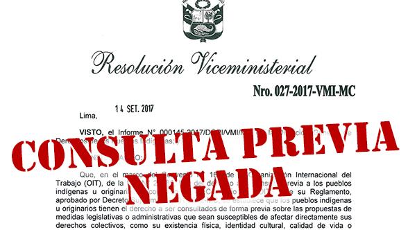 Viceministerio responde que consulta previa no procede para el Lote 192