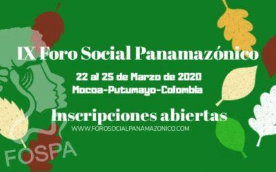 Abren las inscripciones al IX Foro Social Panamazónico