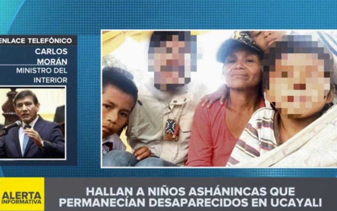 """Los menores asháninkas desaparecidos fueron encontrados """"a salvo"""", informó el Mininter"""