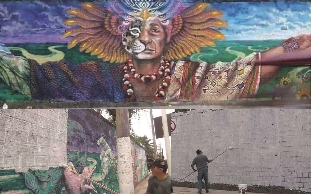 Ucayali: Denuncian borrado de mural urbano sobre la cosmovisión shipiba