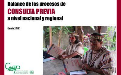 Balance de los procesos de CONSULTA PREVIA a nivel nacional y regional (Junio 2019)