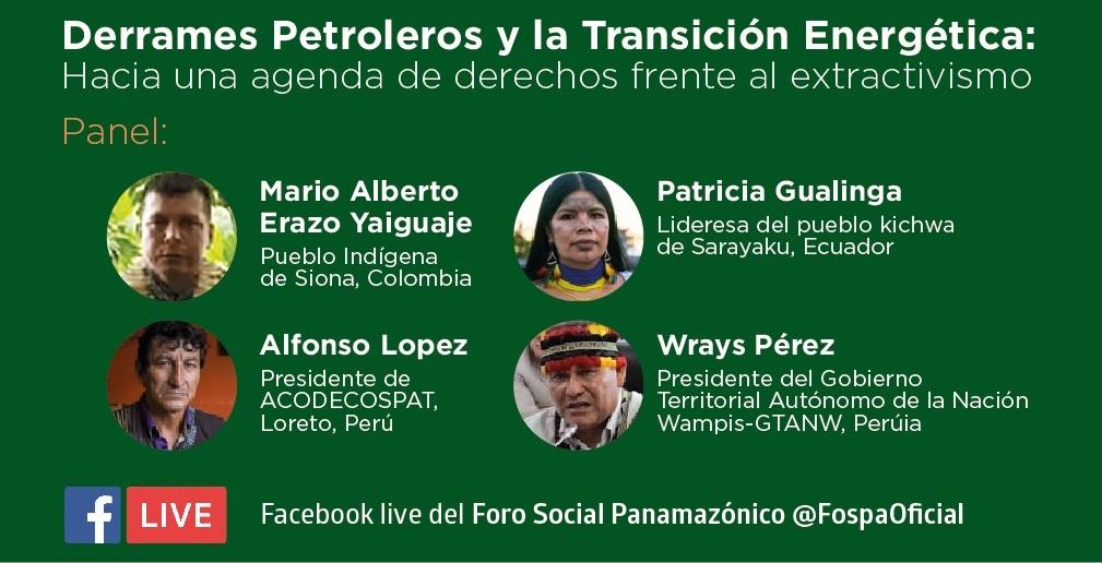 Derrames petroleros en la Amazonía y transición energética serán discutidos en webinar regional